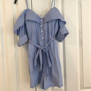 Pants - Blue and White Striped Off the Shoulder Romper